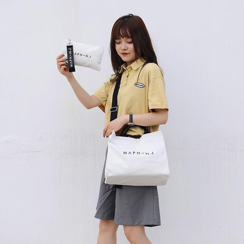 ミニポーチ付き キャンバス トートバッグ ショルダーバッグ A4 韓国