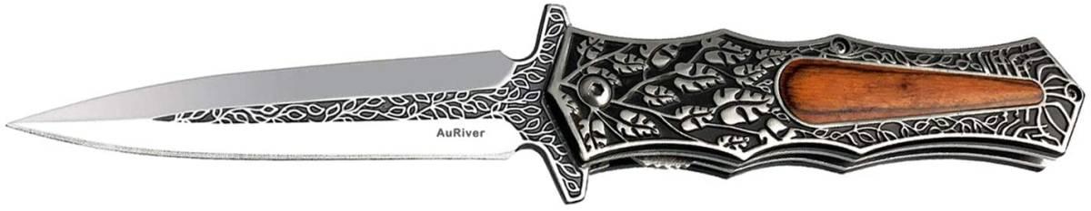 【新品 送料無料】アウトドア ナイフ フォールディングナイフ 造形美のステンレス鋼と天然木のハンドルを備えたキャンプナイフ