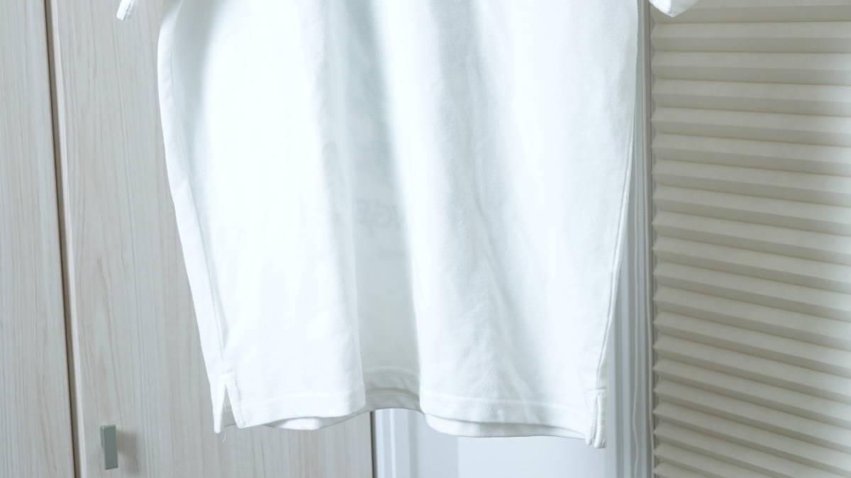 ★Ed Hardyエドハーディー スカルタトゥープリント半袖ポロシャツ  古着ユーズド男性メンズL白ホワイトトップスドクロガイコツ刺青海外_画像5