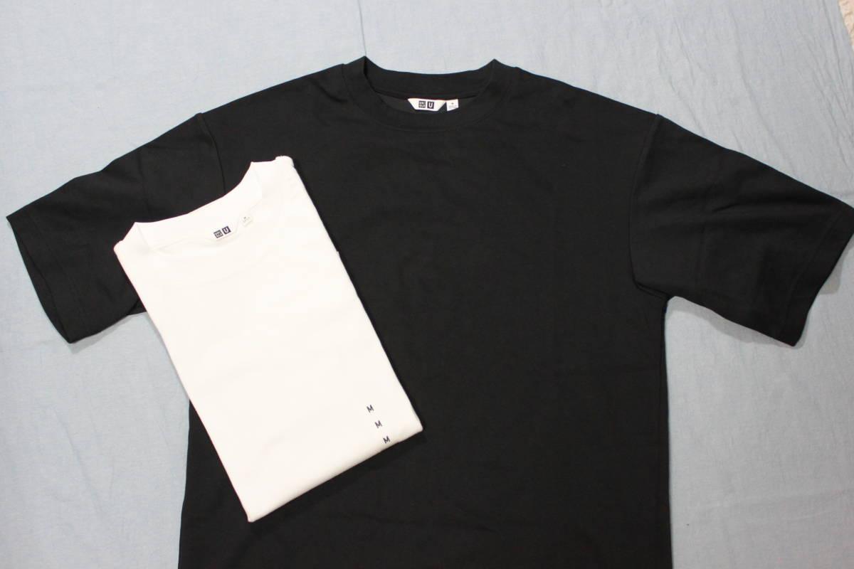 ☆ユニクロ UNIQLO U エアリズム オーバーサイズTシャツ M ブラック・未使用ホワイト2枚セット_画像1
