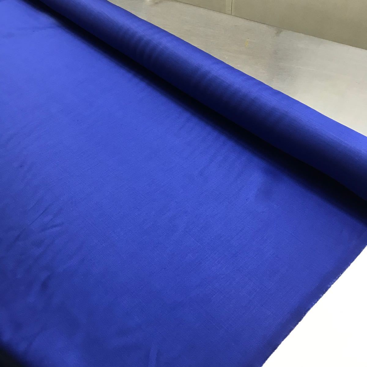 リネン生地 無地 112cm巾×1m 麻サテン 繻子織 ブルー