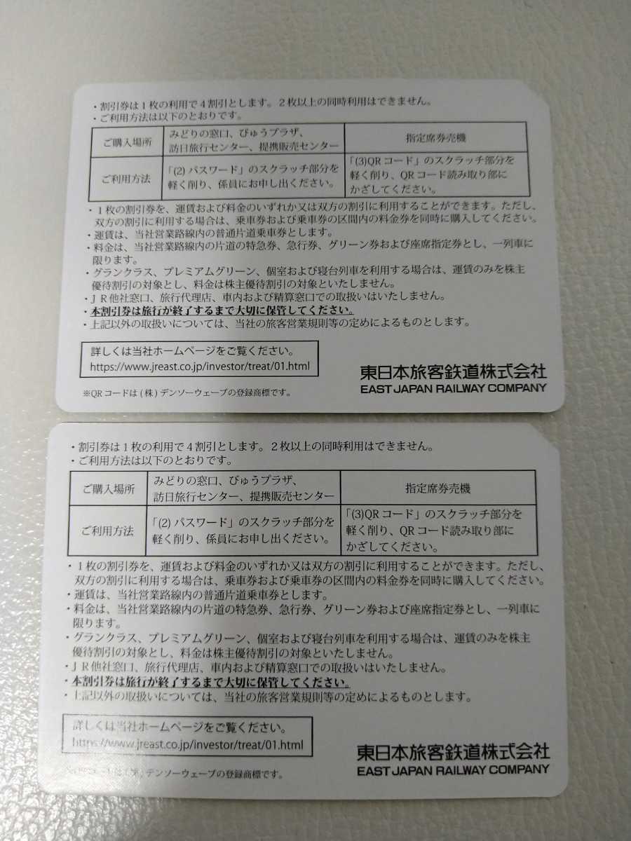 《送料無料・ネコポス》JR東日本 株主優待割引券 未使用2枚 有効期限2022年5月31日迄に延長 株主優待割引券番号画像加工しております_画像2
