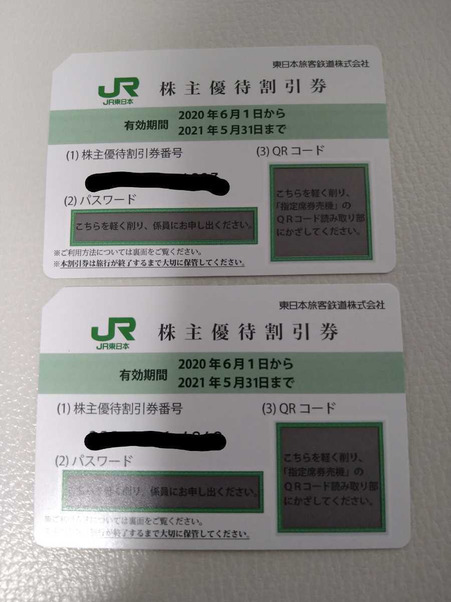 《送料無料・ネコポス》JR東日本 株主優待割引券 未使用2枚 有効期限2022年5月31日迄に延長 株主優待割引券番号画像加工しております_画像1