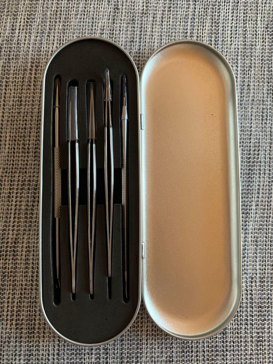毛穴吸引器 美顔器 温熱ケア 真空吸引 角栓除去 ピンセット 精密ピンセット 5本
