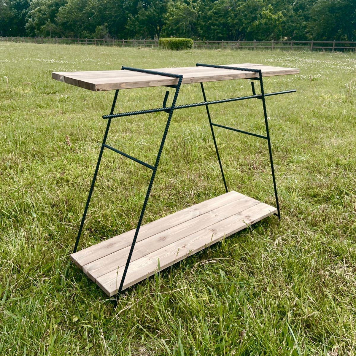 ゴム足付 アイアンラック 80cm アイアンレッグ コクトクラフト アイアンテーブル キャンプ アイアンシェルフ キッチン