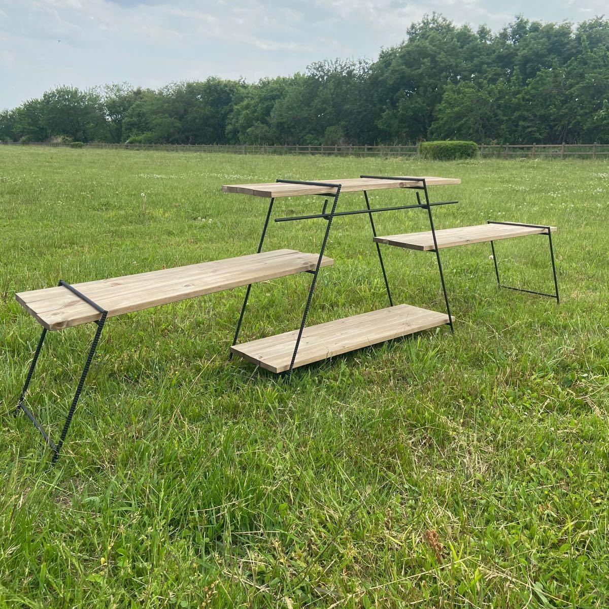 フルセット アイアンラック 70cm&45cm アイアンレッグ コクトクラフト  キャンプ アイアンシェルフ アイアンテーブル