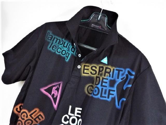 ★美品★ルコックゴルフ Le coq sportif Golf / LCS ロゴ カラフルプリント ポロシャツ 吸水速乾・UV / サイズL_画像2