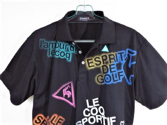 ★美品★ルコックゴルフ Le coq sportif Golf / LCS ロゴ カラフルプリント ポロシャツ 吸水速乾・UV / サイズL_画像4