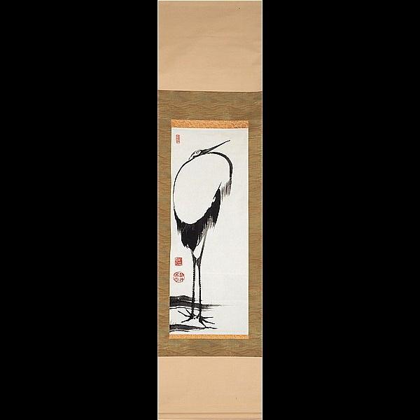 【複製】【蘇山】[伊藤若冲] 5264 掛軸 日本画 てぬぐい 立鶴図 花鳥図 京都 在銘