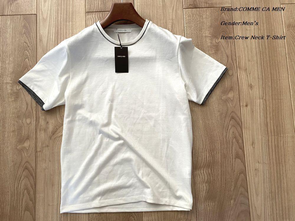 新品サンプル COMME CA MEN コムサメン ラミープレーティング クルーネックTシャツ 21ホワイト Mサイズ 42TP05 定価11,000円