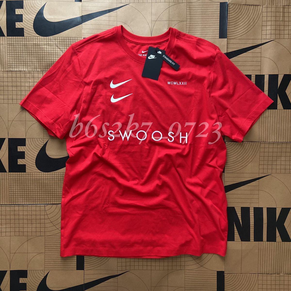 新品 正規品 サイズ2XL NIKE ナイキ 赤 レッド 半袖 Tシャツ SWOOSH 白 刺繍ロゴ ホワイ