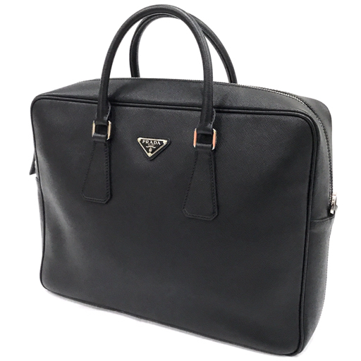 プラダ サフィアーノレザー ビジネスバッグ ブリーフケース 書類かばん 黒 ブラック メンズ 三角プレート PRADA