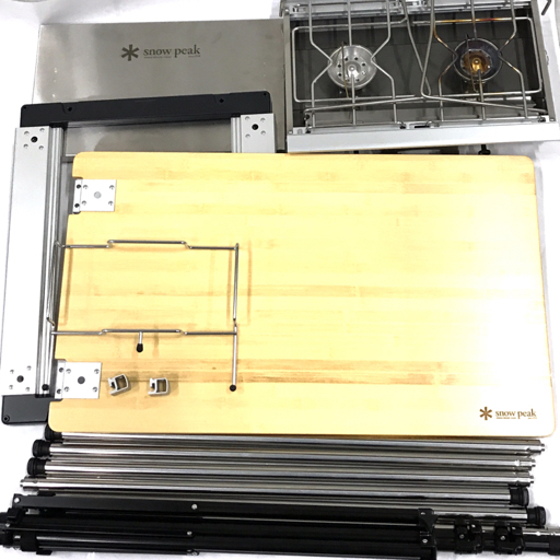 1円 Snow Peak GS-230 ギガパワーツーバーナー マルチファンクションテーブル竹 等 アウトドア用品 まとめセット
