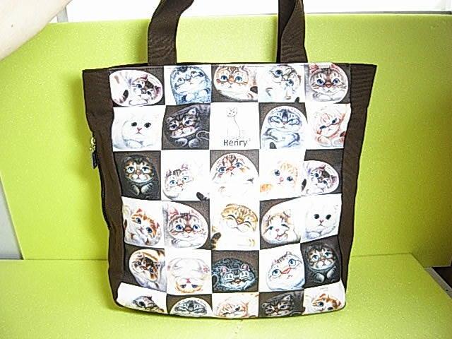 ★大人気!★【 Henry Cats & Friends 】ヘンリーキャッツ&フレンズ キャンパス 猫ネコ ショッピング トートバック ★Cats!★_画像1