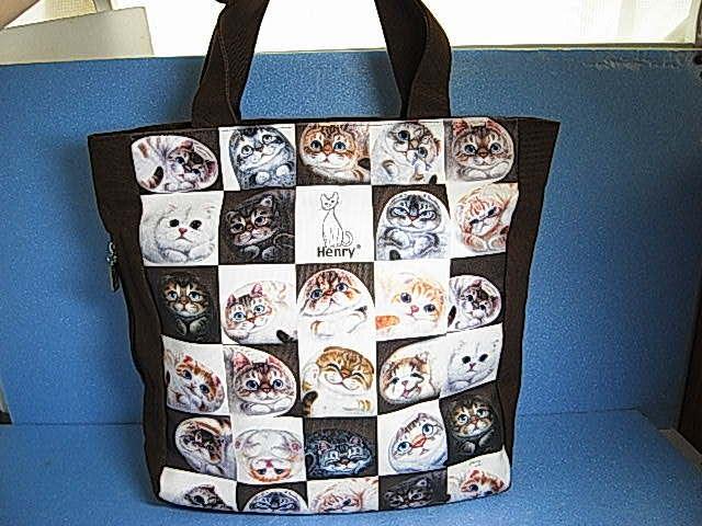 ★大人気!★【 Henry Cats & Friends 】ヘンリーキャッツ&フレンズ キャンパス 猫ネコ ショッピング トートバック ★Cats!★_画像2