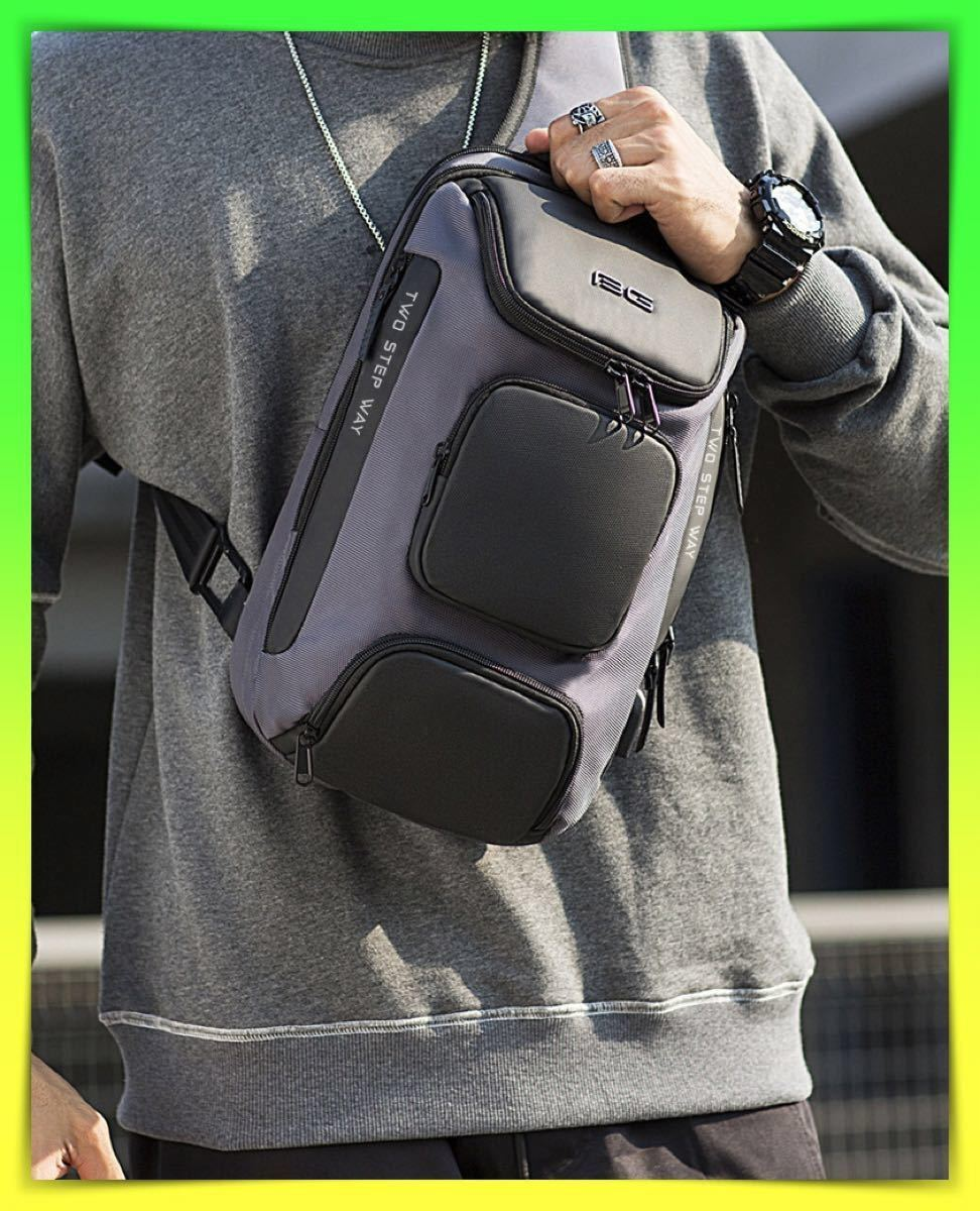 新品 ボディバッグ ブラック メンズ 大容量 ワンショルダー 防水 USB充電ポートiPad収納 発送24時間以内!!
