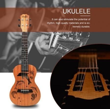 【交渉】M02447 ウクレレ本体 21インチ プロフェッショナル サペリ イルカ ギター マホガニー チューニングペグ 4弦ウッド ギフト_画像5