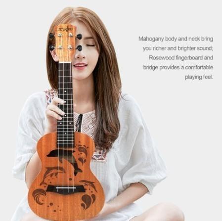 【交渉】M02447 ウクレレ本体 21インチ プロフェッショナル サペリ イルカ ギター マホガニー チューニングペグ 4弦ウッド ギフト_画像1