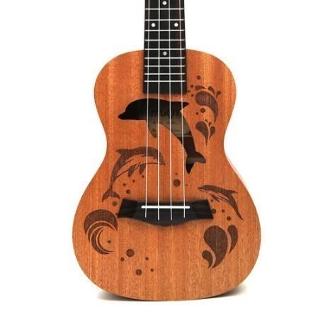 【交渉】M02447 ウクレレ本体 21インチ プロフェッショナル サペリ イルカ ギター マホガニー チューニングペグ 4弦ウッド ギフト_画像2