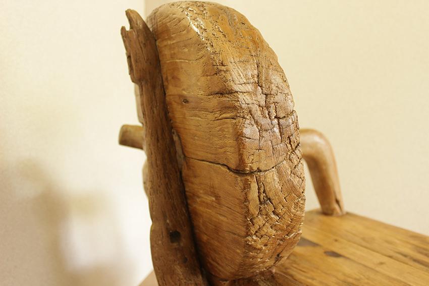 『癒し』アンティーク*チーク古木自然杢*オールドチーク*素朴*お部屋作り*古い木*珍品*無垢*椅子*チェア*スツール☆片肘掛け付チェア/left_画像8