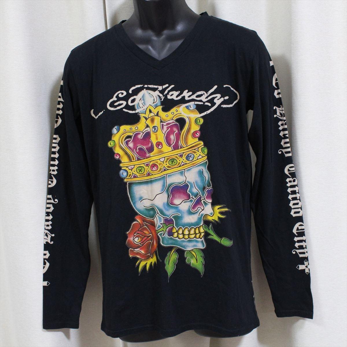 Ed Hardy(エドハーディー) メンズ長袖Tシャツ M03GTC302 ブラック 新品 黒色 Mサイズ_画像1