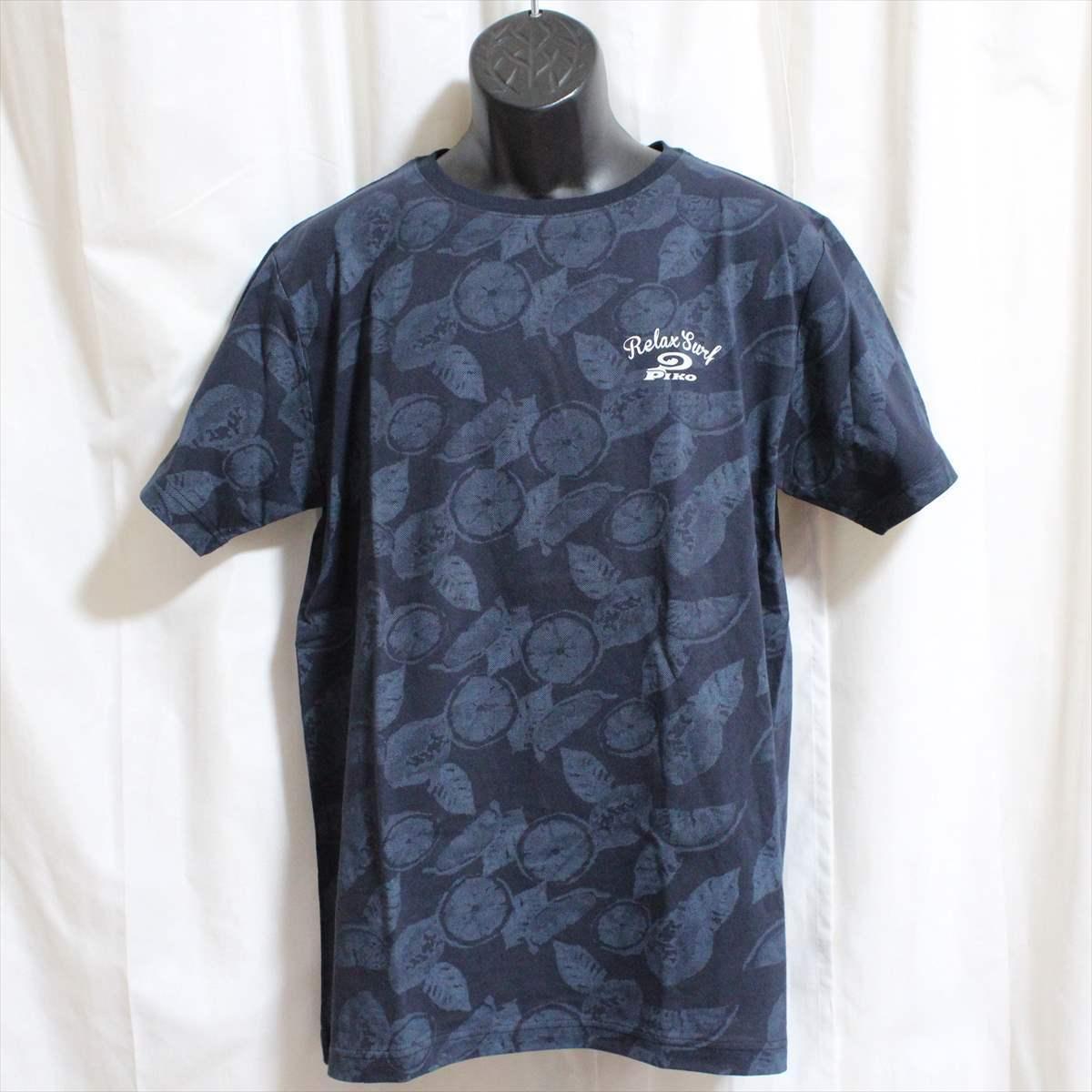 ピコ PIKO メンズ半袖Tシャツ ネイビー Lサイズ 新品 紺_画像1