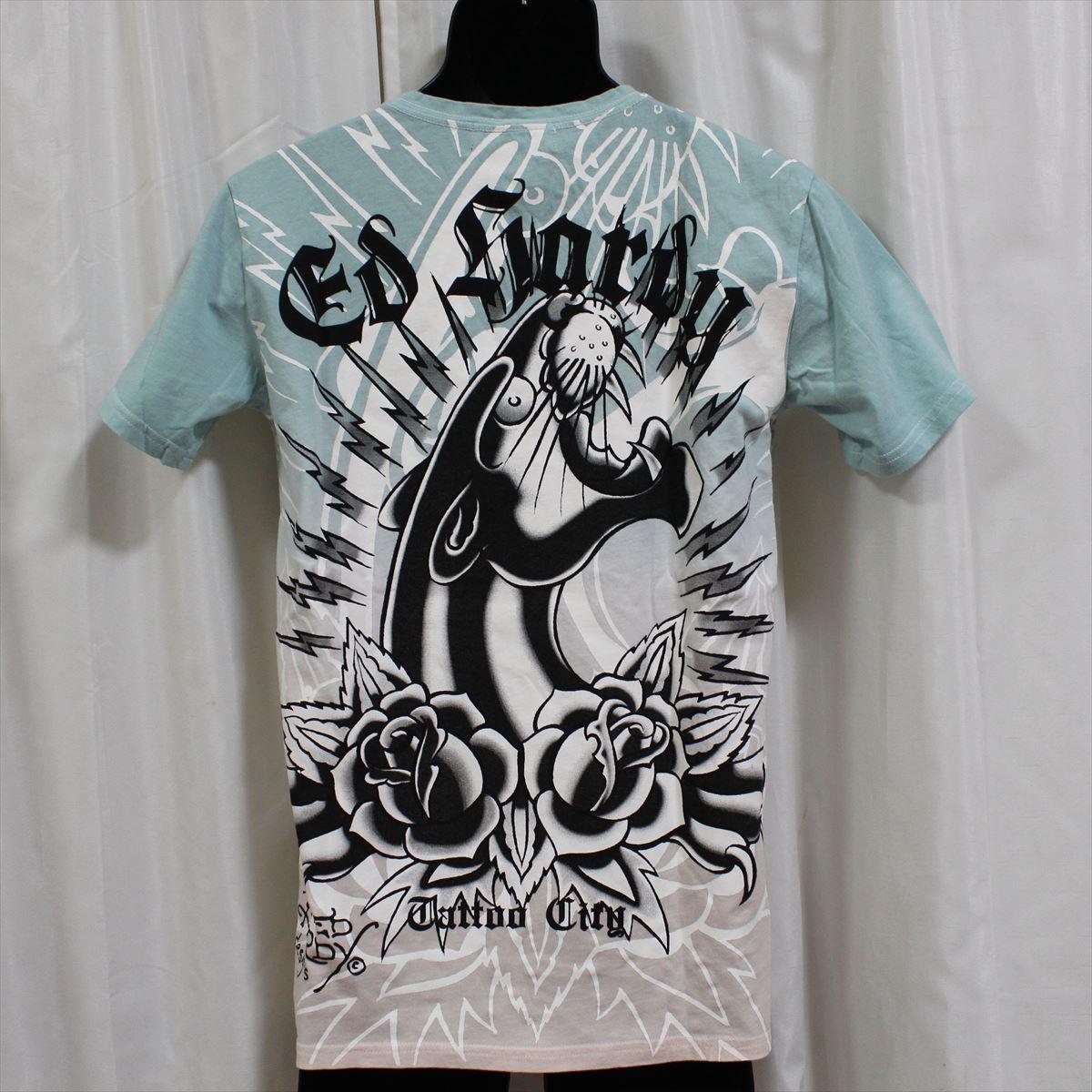 エドハーディー ED HARDY メンズ半袖Tシャツ ブルーxピンク Mサイズ 新品_画像3