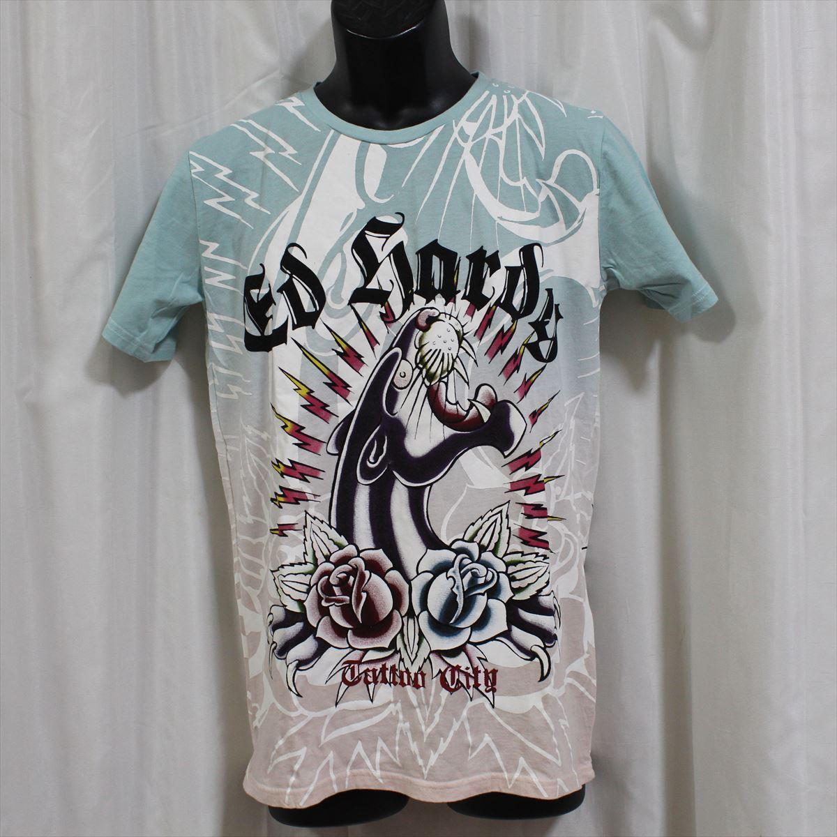 エドハーディー ED HARDY メンズ半袖Tシャツ ブルーxピンク Mサイズ 新品_画像1