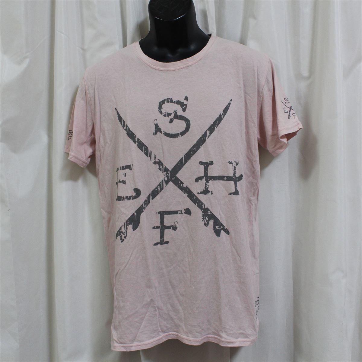 エドハーディー ED HARDY メンズ半袖Tシャツ ピンク Lサイズ 新品 アウトレット_画像1