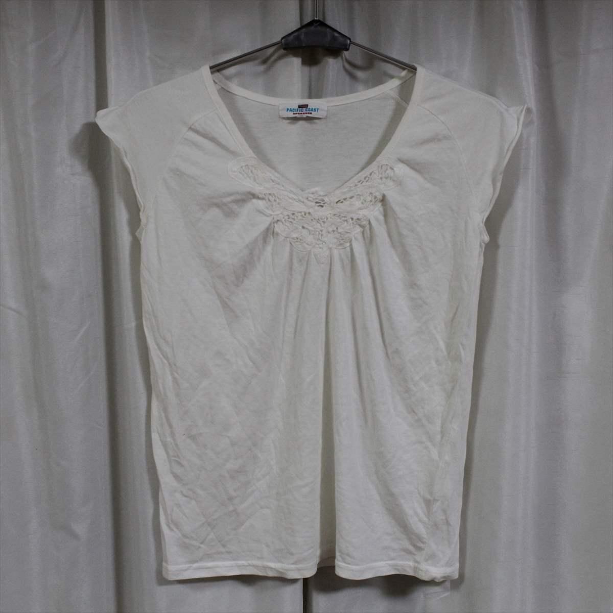 パシフィックコースト PACIFIC COAST レディース ノースリーブ Tシャツ アイボリー Mサイズ 新品 トップス_画像1