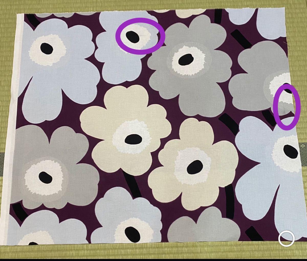 marimekko はぎれ ピエニウニッコ 紫 ベージュ グレー 生地 レア 廃盤