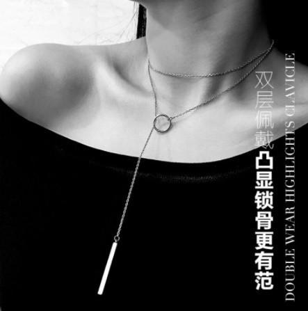 Mp4556:女性 サークルストリップロングチェーン マルチレイヤーペンダントネックレス セーターチェーン チョーカー シルバージュエリー_画像5