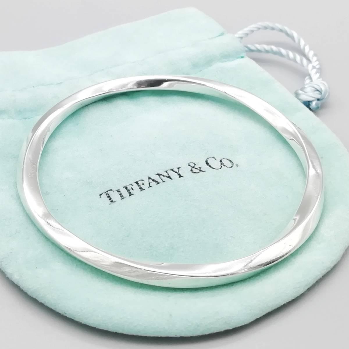 極希少 美品 Tiffany&Co. ティファニー ウェーブ シルバー バングル ブレスレット SV925 1999年製 XX39