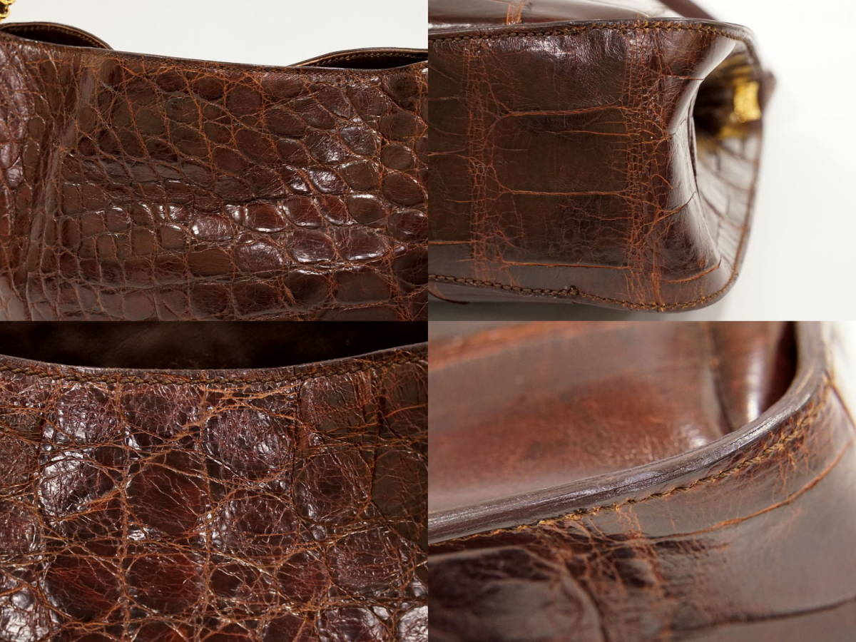 本物 マウロゴヴェルナ MAURO GOVERNA クロコダイル レザー ショルダーバッグ トートバッグ ブラウン_画像4