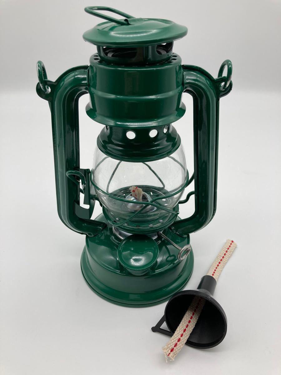 オイルランタン グリーン 替え芯付き ハリケーンランプ オイルランプ アウトドア