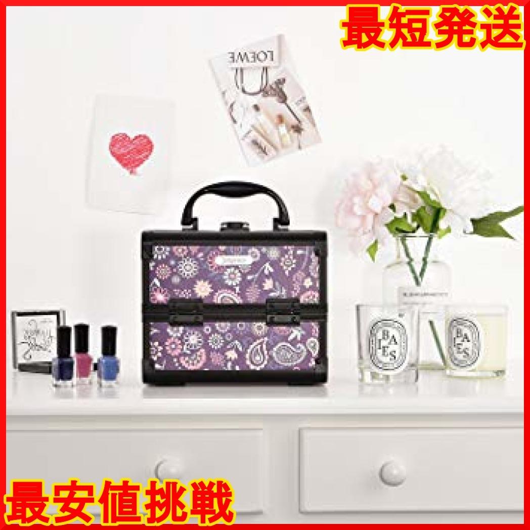 パープル Hapilife コスメボックス 鏡付き スライドトレイ メイク用品収納 プロ仕様 小型 化粧箱 ピンク(紫の花)_画像2