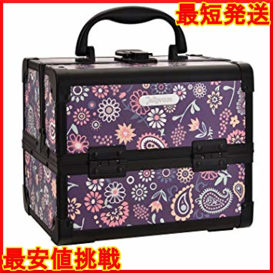 パープル Hapilife コスメボックス 鏡付き スライドトレイ メイク用品収納 プロ仕様 小型 化粧箱 ピンク(紫の花)_画像1