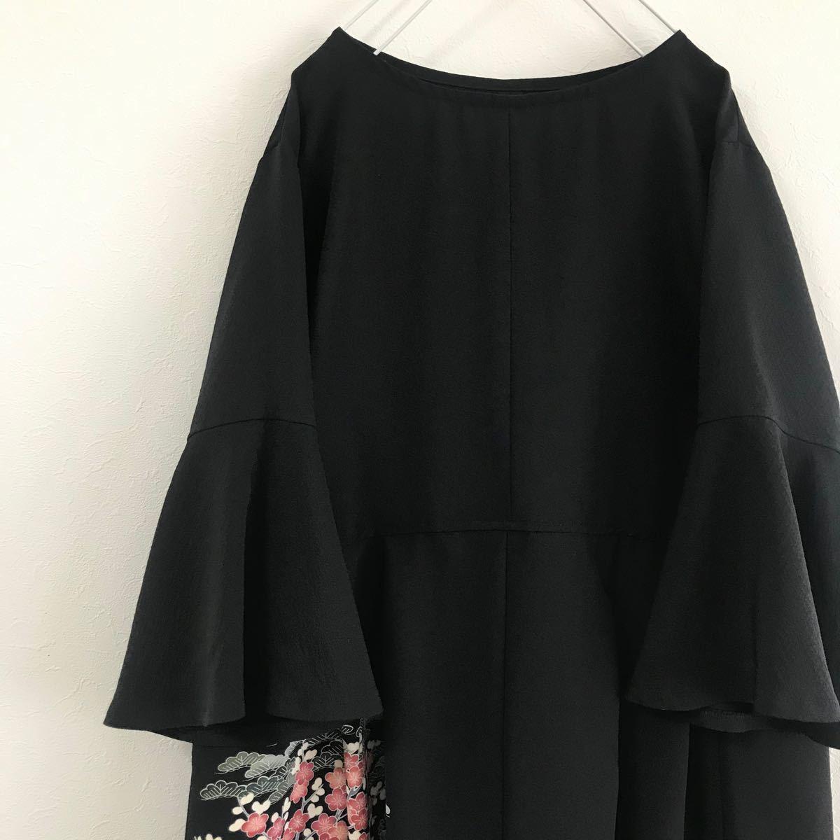 着物リメイク ワンピース ドレス 黒留袖 正絹 作家物 落款 友禅