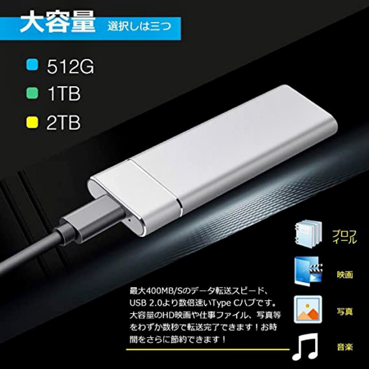 外付けハードディスク 1TB Type-C 大容量 USB