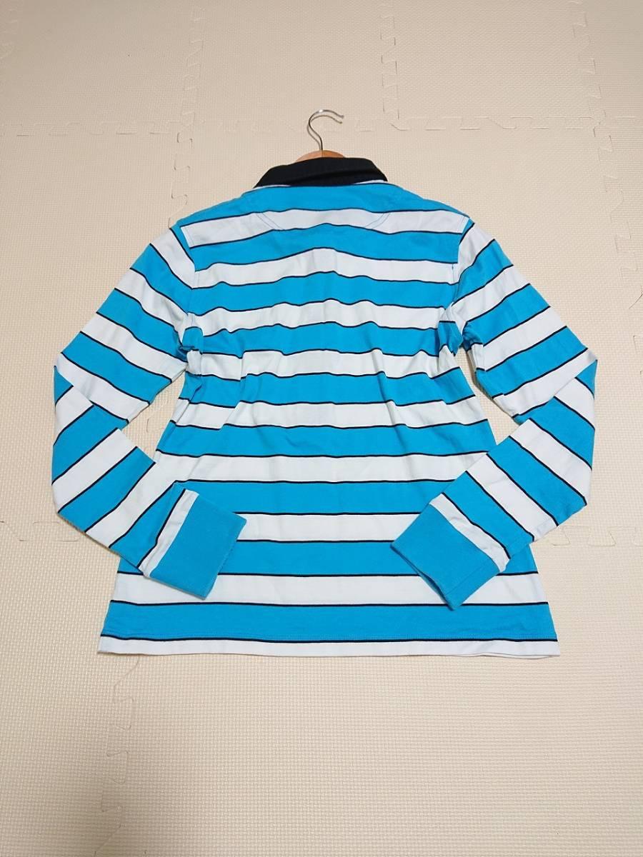 le coq sportif GOLF ルコックゴルフ ボーダー ポロシャツ 半袖 ボタンダウン トップス ウェア ライトブルー ホワイト sizeL_画像3