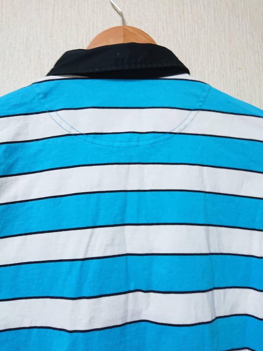le coq sportif GOLF ルコックゴルフ ボーダー ポロシャツ 半袖 ボタンダウン トップス ウェア ライトブルー ホワイト sizeL_画像4
