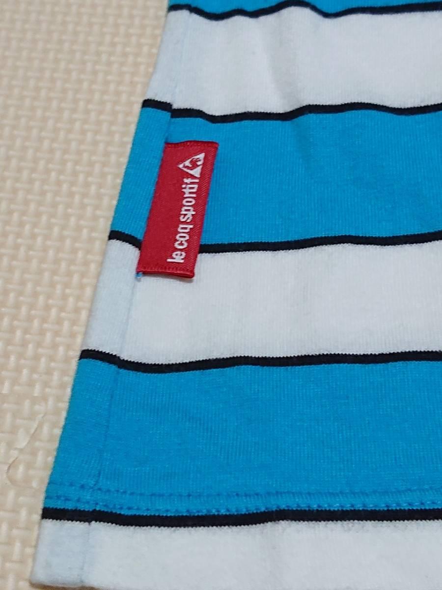 le coq sportif GOLF ルコックゴルフ ボーダー ポロシャツ 半袖 ボタンダウン トップス ウェア ライトブルー ホワイト sizeL_画像5