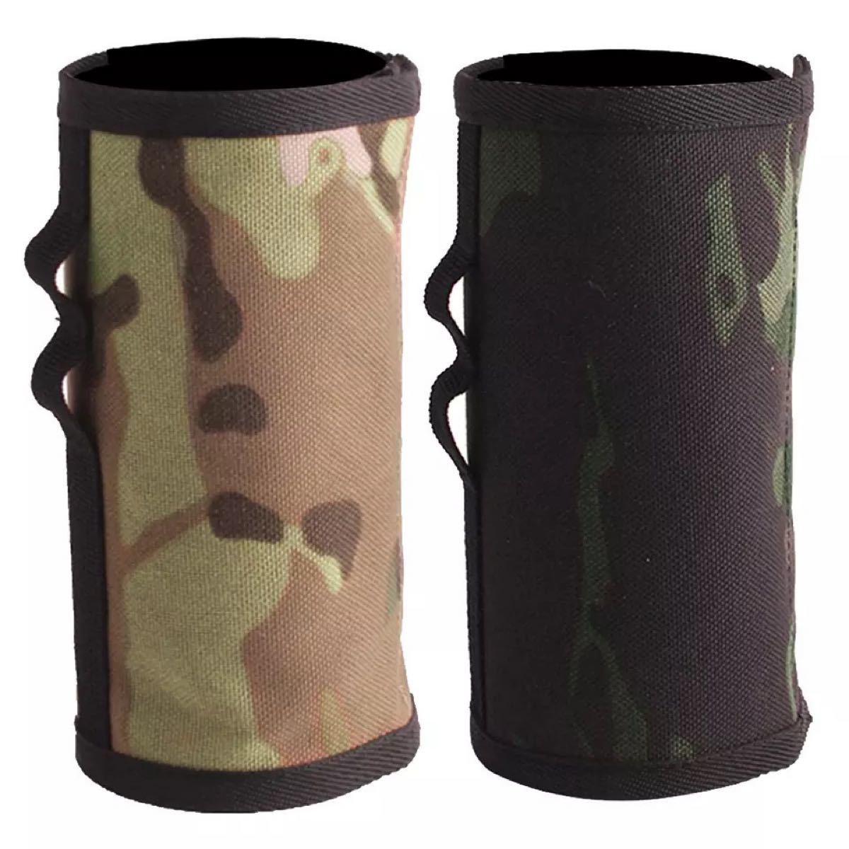 CB缶(カセットボンベ)用のガス缶カバー、明るい迷彩と暗い迷彩の2枚セット