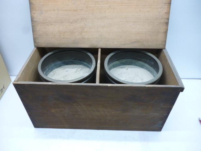 真鍮製 火鉢 2個セット 木箱入 直径24cm 高さ24cm #19860