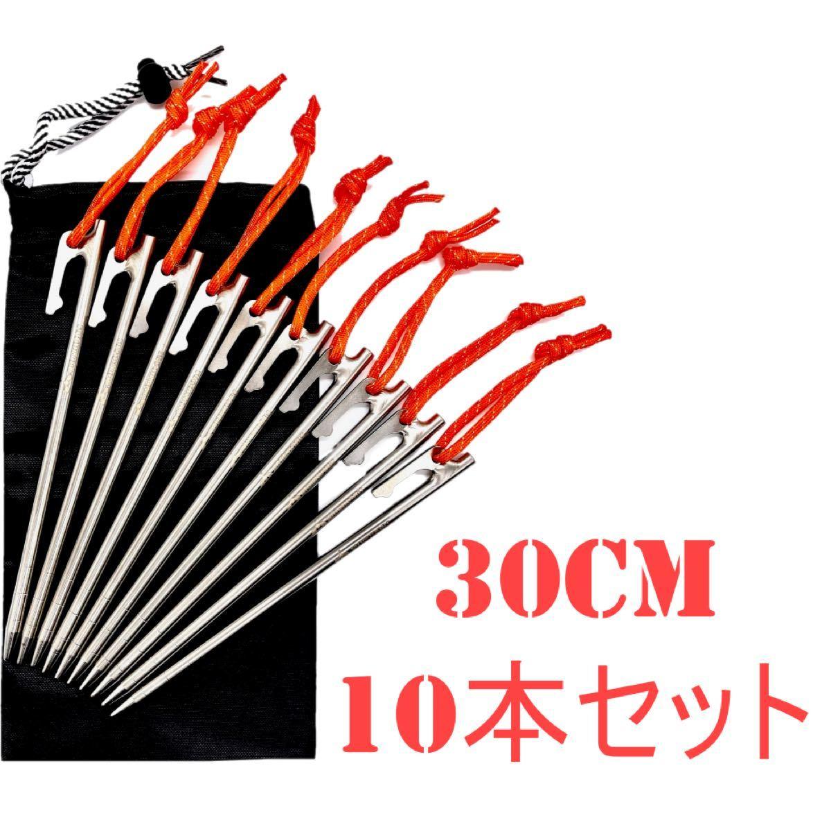 MOMIDORIチタンペグ 夜光固定ロープ/収納袋付き  30cm 10本セット