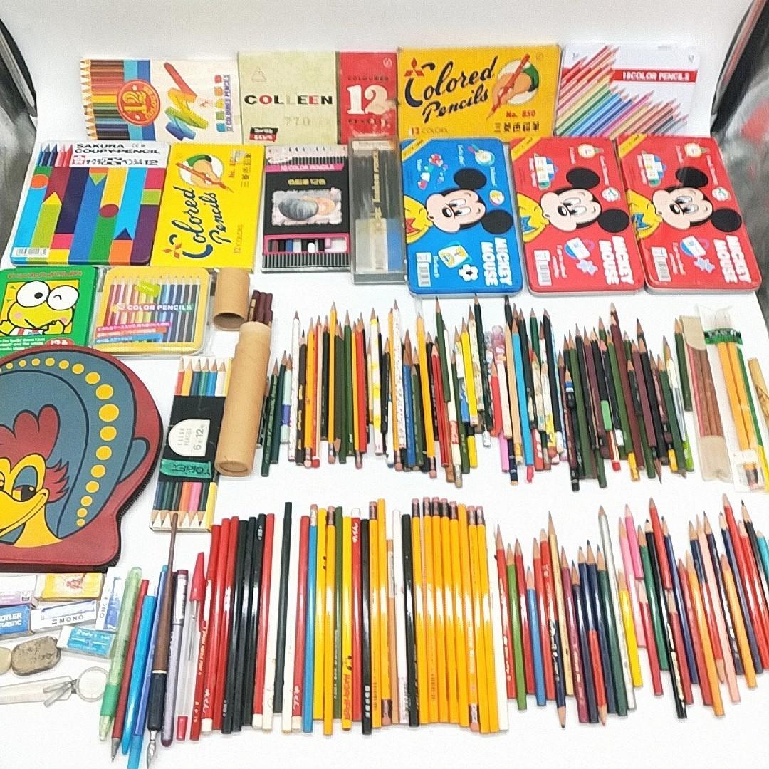 S14【1円スタート】 鉛筆 色鉛筆 まとめ 大量 サクラクーピー 消しゴム 筆記用具 文房具