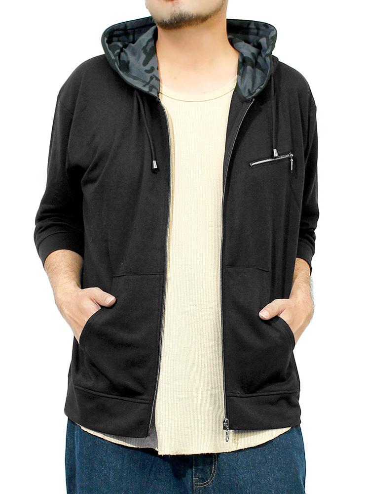 【新品】 3L ブラック 7分袖 パーカー メンズ 大きいサイズ 半袖 長袖 カモフラ 迷彩 薄手 ジップアップ ゆったり ジップアップパーカー
