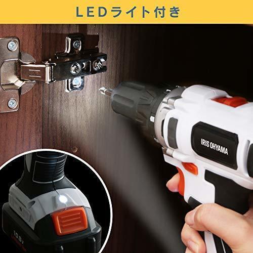 2)ドリルドライバー アイリスオーヤマ 電動ドリルドライバー 充電式 軽量 コードレス LEDライト 正逆転切替 JCD28 充_画像5
