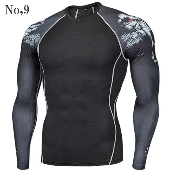 コンプレッションウエア No,9 Lサイズ メンズ 加圧インナー アンダーシャツ トレーニングウエア スポーツウエア 長袖 吸汗 速乾