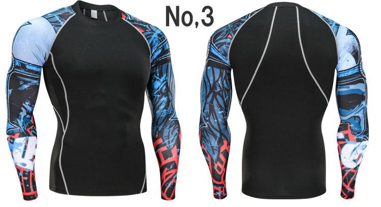 コンプレッションウエア No,3 Mサイズ メンズ 加圧インナー アンダーシャツ トレーニングウエア スポーツウエア 長袖 吸汗 速乾